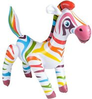 """24"""" Adorable Rainbow Zebra Horse Inflatable Inflate Blow Up Toy Party Decoration"""