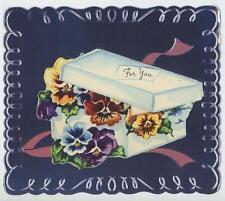 VINTAGE GARDEN PANSY PANSIES FLOWERS EMBOSSED METAL ALUMINUM BIRTHDAY CARD PRINT
