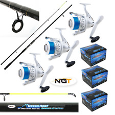 SEA FISHING SET 3 X 12FT BEACHCASTER RODS NGT OCEAN REEF + 3 X SHIZUKA SEA REELS