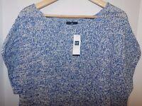 NWT Gap Women's Crochet Poncho Sweater Blue Heather S L XL MSRP$45 Free Ship New