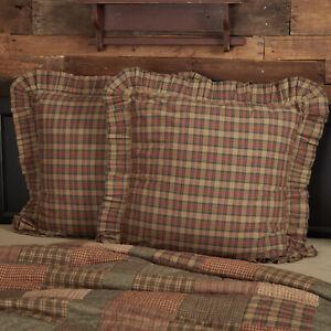 VHC Brands Primitive Euro Sham Tan Crosswoods Cotton Plaid Square Bedroom Decor