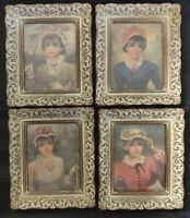 """VINTAGE Victorian Women Elegant 7""""x 6"""" Framed Prints Set of 4"""