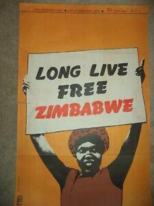 OSPAAAL Political Poster Zimbabwe Africa LONG LIVE FREE 1980 Lazaro Abreu genuin