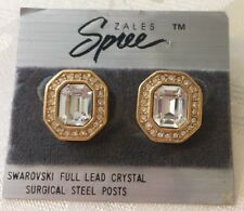 SWAROVSKI Vintage Earrings Emerald Shape with Cry Gold Tone Stud Signed SAL