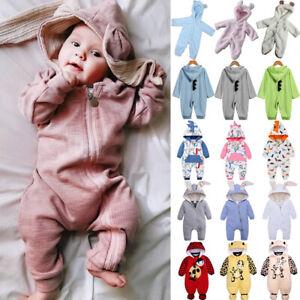Newborn Infant Kids Boys Girls Bunny Hoodie Romper Jumpsuit Warm Pajamas Outfits