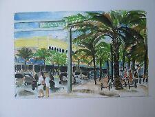 Las Olas Blvd, Fort Lauderdale, FL / W/C Print/ 8 1/2' x 11' / Mimi Davis, Artst