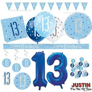 Blue 13th Birthday Party Decorations Boys Men Teenager Balloons Banners Age 13