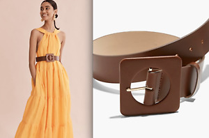 Country Road Tan SQUARE WRAPPED Genuine leather BELT [Sz S 8-10] BNWT $80