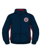 Marvel Captain America Shield Logo Thermal Fleece Zip Up Hoodie Sweatshirt