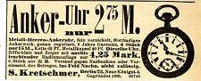 S. Kretschmer Berlin ANKER UHR Historische I WK Reklame 1915