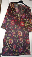 Womensclassic casual 3/4 sleeve tunic in brown floral by Per Una size S