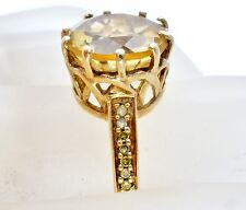 Citrine and Diamond Ring 10K Yellow Gold Gemstone Size 7 3.4 Grams Heng Ngai