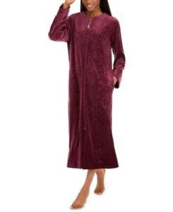 Miss Elaine Women's Brocade Micro Fleece Long Zipper Robe Wine Size Large #2