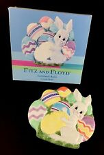 Fitz and Floyd Gathering Eggs Canapé Plate Dish Easter Bunny Rabbit Box Included