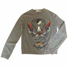 Valentino Mens Grey Sailor Tattoo Sweater in Wool Cashmere S