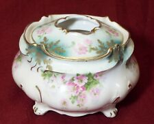 Antique RS Prussia Porcelain Hair Receiver Green Leaf Footed Box Red Mark Satin Finish
