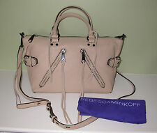 NWT Rebecca Minkoff HF25MMOS26 Moto Leather Satchel in Latte $335