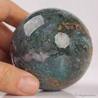 387g 67mm Natural Ocean Jasper Quartz Crystal Sphere Healing Ball Chakra Decor