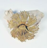 VINTAGE MONET Gold Textured Fringe Style Flower Floral BROOCH Scarf Pin