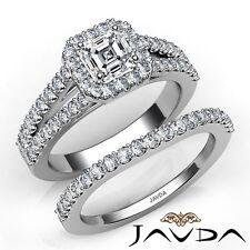 2.15ctw Halo Separado Pata Novia Asscher Anillo de Compromiso Diamante GIA G-VS2