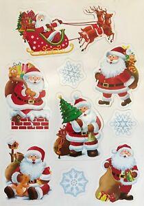 Pack 9 Xmas Festive Santa Snowflake Fridge Magnets Vintage Christmas Decorations