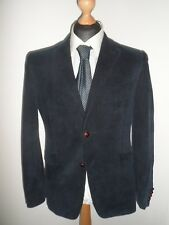 "40R WILLIAM HUNT Savile Row Mens Cord Jacket Blazer Blue SIZE 40""R - Elbow Patch"