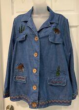 Breckenridge Woman Blue Denim Jean Jacket Bear Moose Applique Size 2X EUC