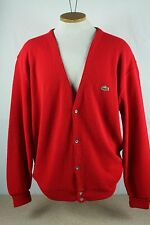 Vintage Izod Lacoste Red Cardigan Sweater Mens XL Acrylic Alligator Grandpa Croc