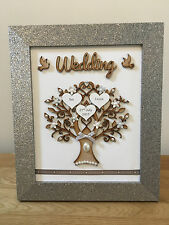 Personalised Wedding Family Tree Silver Glitter Frame Anniversary Gift Home Love