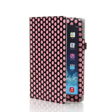 Leather Flip Carrying Case Cover  Kick Stand for Apple iPad 1 1st Polka Dot Pink