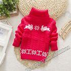 Kid Girl Children Sweater Pullover Turtleneck Cartoon Sweater Christams Gift