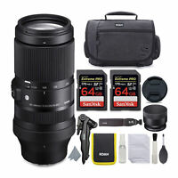 Sigma 100-400mm f/5-6.3 DG DN OS Lens for Sony E-Mount 64GB SD Card Bundle