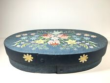 "Large 15"" Oval Hand Painted Wooden Box Bent Wood Folk Art Primitive"