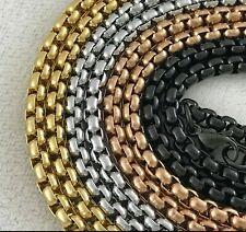 14k Gold Silver Black Round Rolo Box Link Chain Necklace Choker Anklet Bracelet