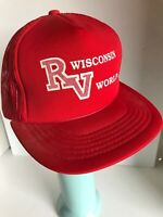 Vintage Wisconsin RV World Red Mesh Snapback Trucker Hat Cap