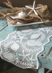 "Heritage Lace TIDEPOOL 14"" x 40"" Table Runner Seashells Beach Coastal USA MADE!"