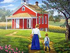 "500 Piece Art Puzzle John Sloane "" First Day "" To School  New 16""x20"""