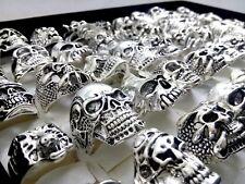 wholesale 25 X Alloy skull rings silver men's women party punk Biker jewelry