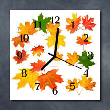 Glass Wall Clock Kitchen Clocks 30x30 cm silent Leaves Orange