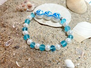 Beach Girl Bracelet Turquoise Wave Woman Stretch Handmade Glass Beaded Bracelet