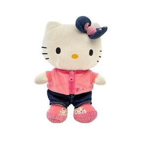 Sanrio Hello Kitty Plush Stuffed Toy Pink Floral Jacket Denim Pant Doll Licensed