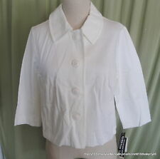 NWT Briggs New York Cropped 3/4 Sleeve White Cotton Blend Swing Jacket Size 12