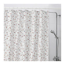 """IKEA LJUSOGA Shower Curtain Floral pattern on White 71 x 71"""" Water repellent New"""