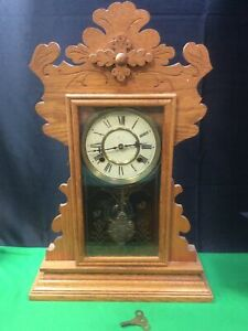 Antique Waterbury Clock Co Wall Regulator Pendulum Clock.