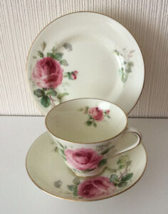 Pretty Vintage Tea Trio 'June' By Royal Doulton Decorated With Pink Roses
