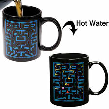 Pacman Color Changing Thermometer Heat Sensitive Porcelain Tea Coffee Milk Mug