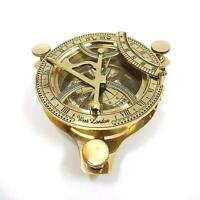 """4"""" Brass Sundial Compass Anchor West London Etched Nautical Retro Decor Luxury"""