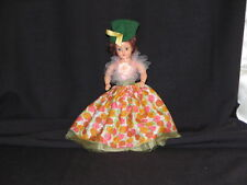 "Doll 7 1/2"" Dutchess Doll Corp 1948 Original Green Felt hat Pink floral dress"