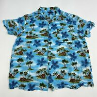 George Button Up Shirt Men's Size 2XL XXL Short Sleeve Palm Hut Blue Hawaiian
