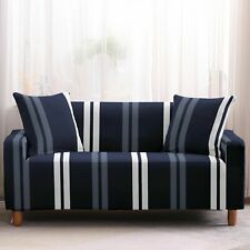 Navy Blue Contemporary Striped Sofa Couch Cover Slipcover